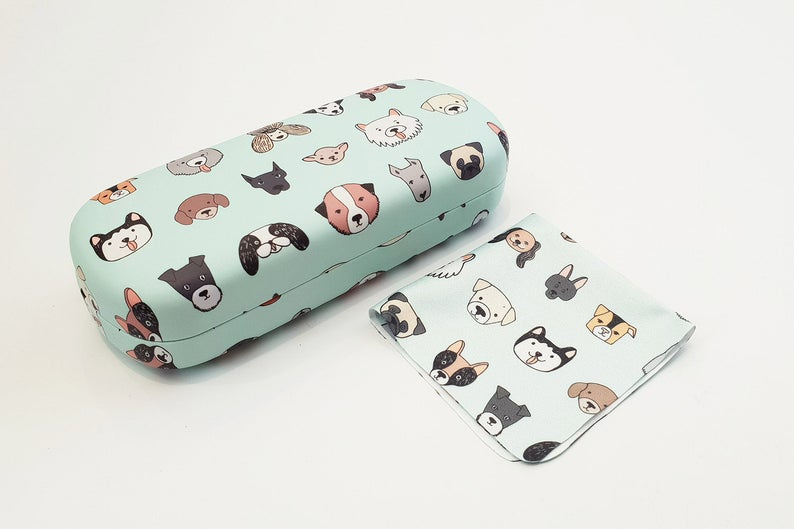 dog hard glasses case angle view